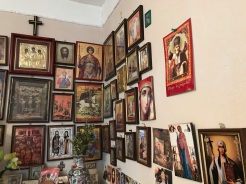 Eastern Orthodox religion is widely observed in Georgia; this guest house had a typical display of icons
