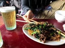 mi xao and beer